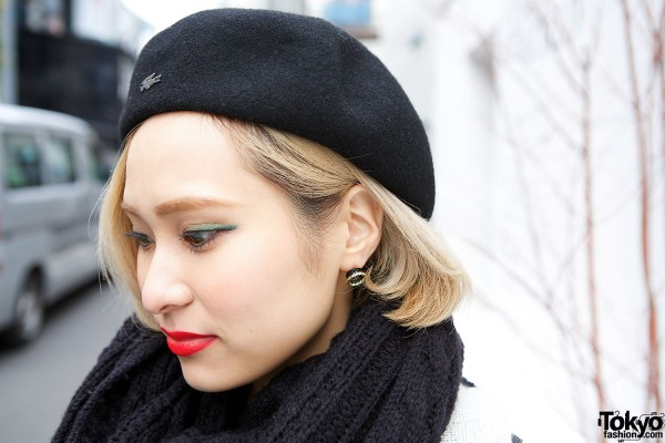 Black Beret Red Lips
