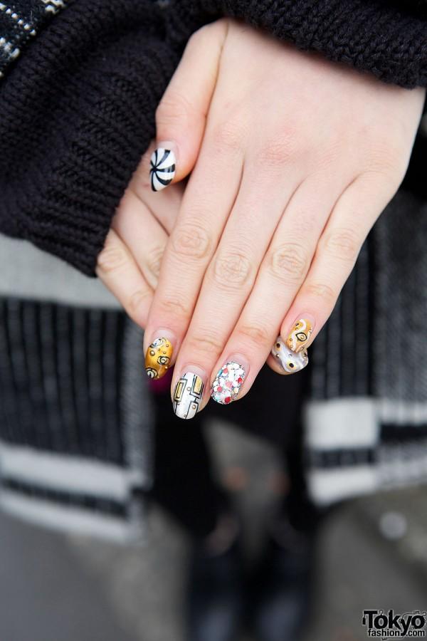Jeweled Geometric Nail Art