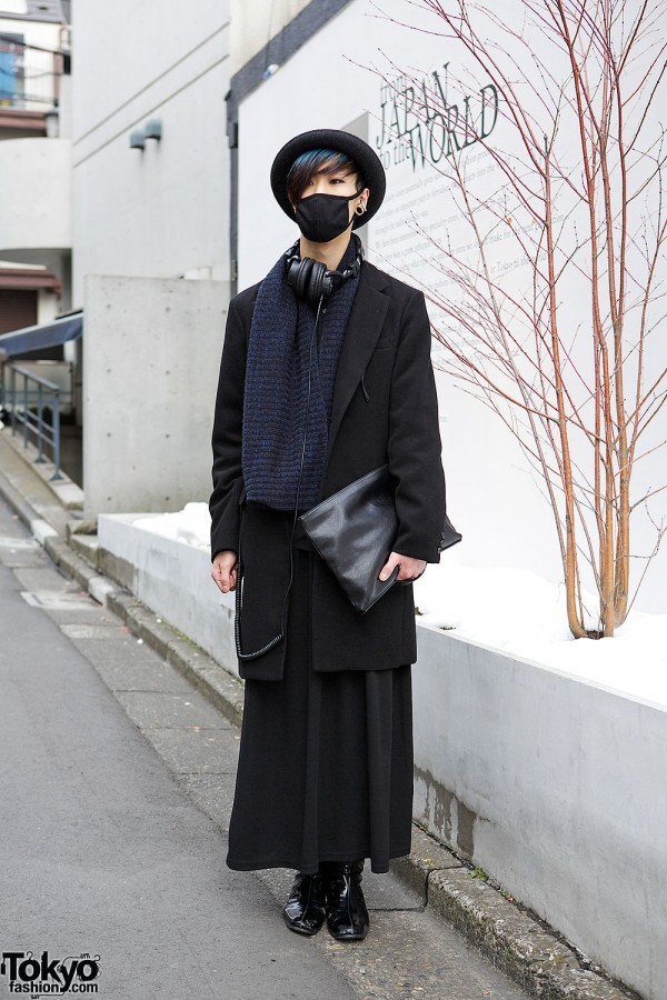 All Black Harajuku Style w/ Mask, Maxi Skirt, Clutch & Bolwer Hat
