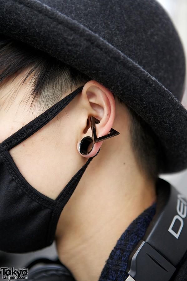 Gauged Ear & Black Mask