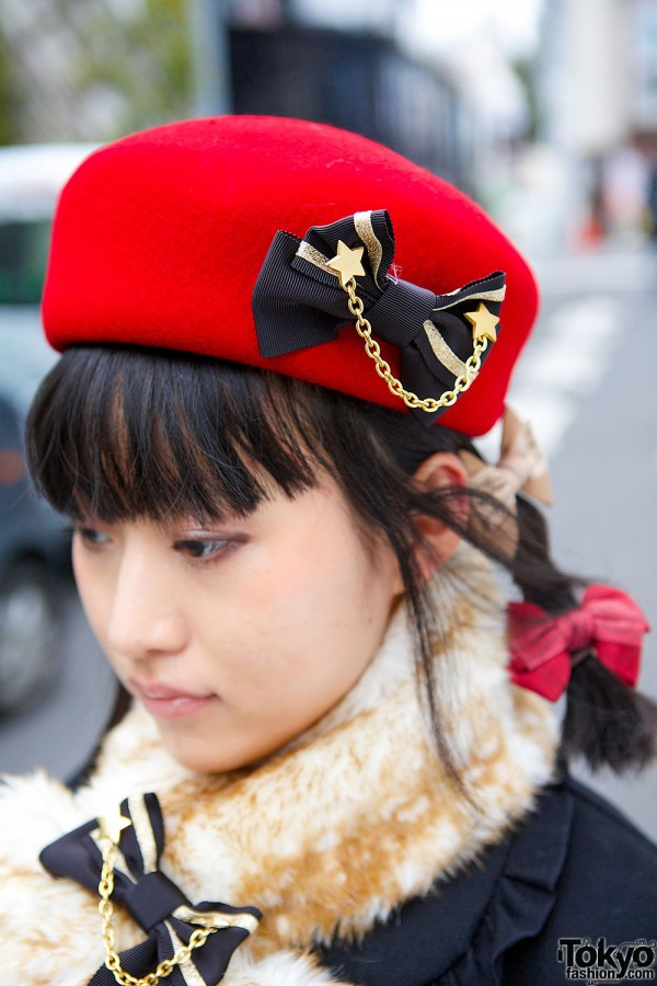 Red Beret with Bow Pin