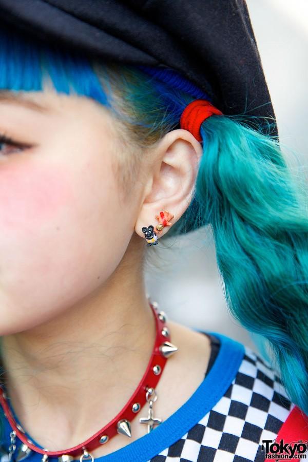 Blue Twin Tails & Earrings