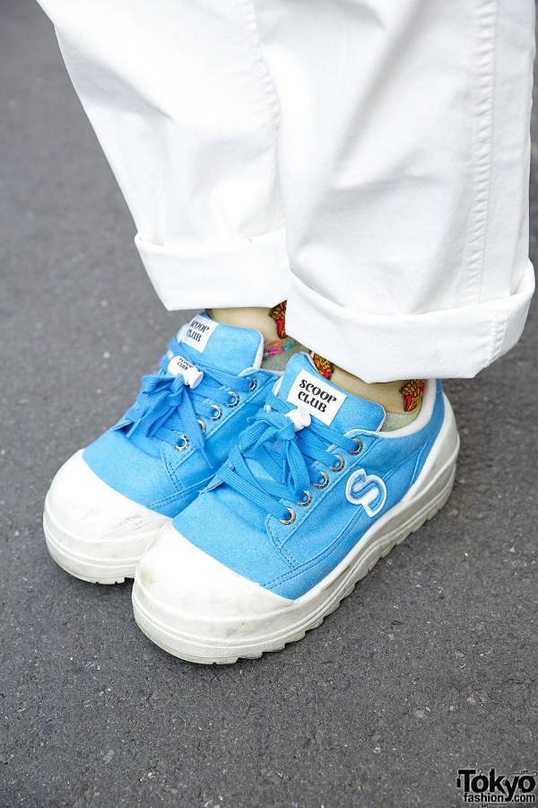 Blue Scoop Club Sneakers & White Pants