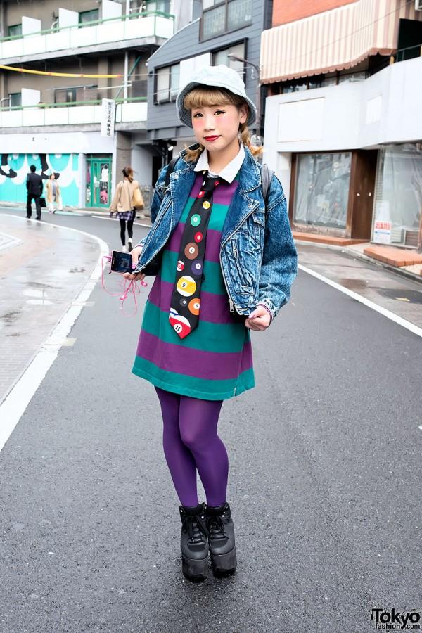 Acid Wash Jacket, Pool Balls Tie & Platform Sneakers in Harajuku