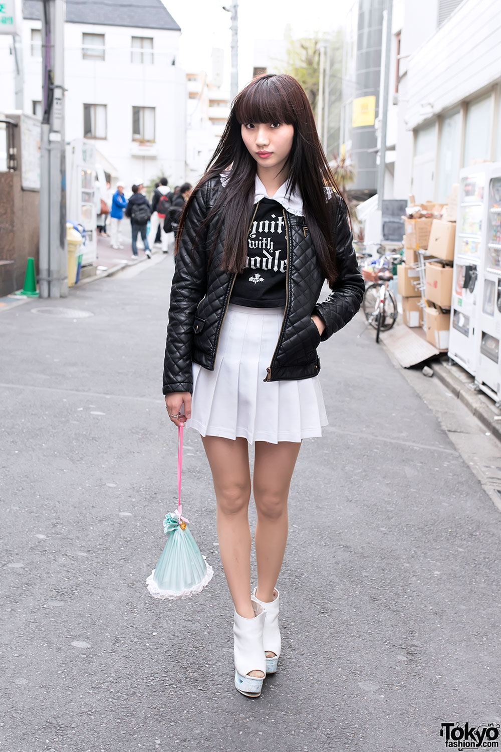 Pleated Skirt Leather Jacket Fifi Chachnil Bag In Harajuku