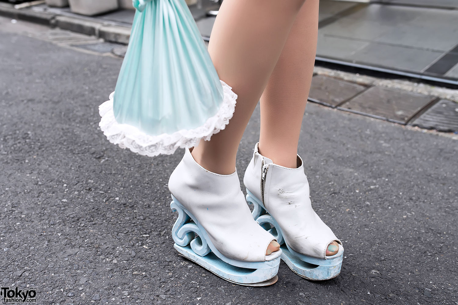Fifi Chachnil Bag In Harajuku Jeffrey Campbell Blue Wooden Platforms