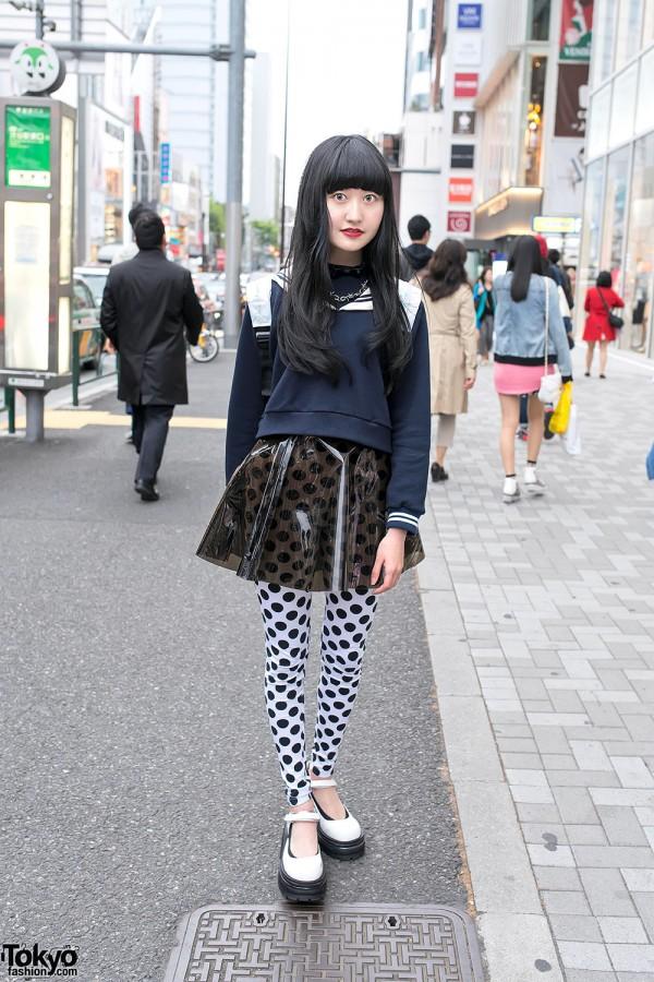 Sailor Top, Transparent Skirt, Polka Dots & Jeffrey Campbell in Harajuku
