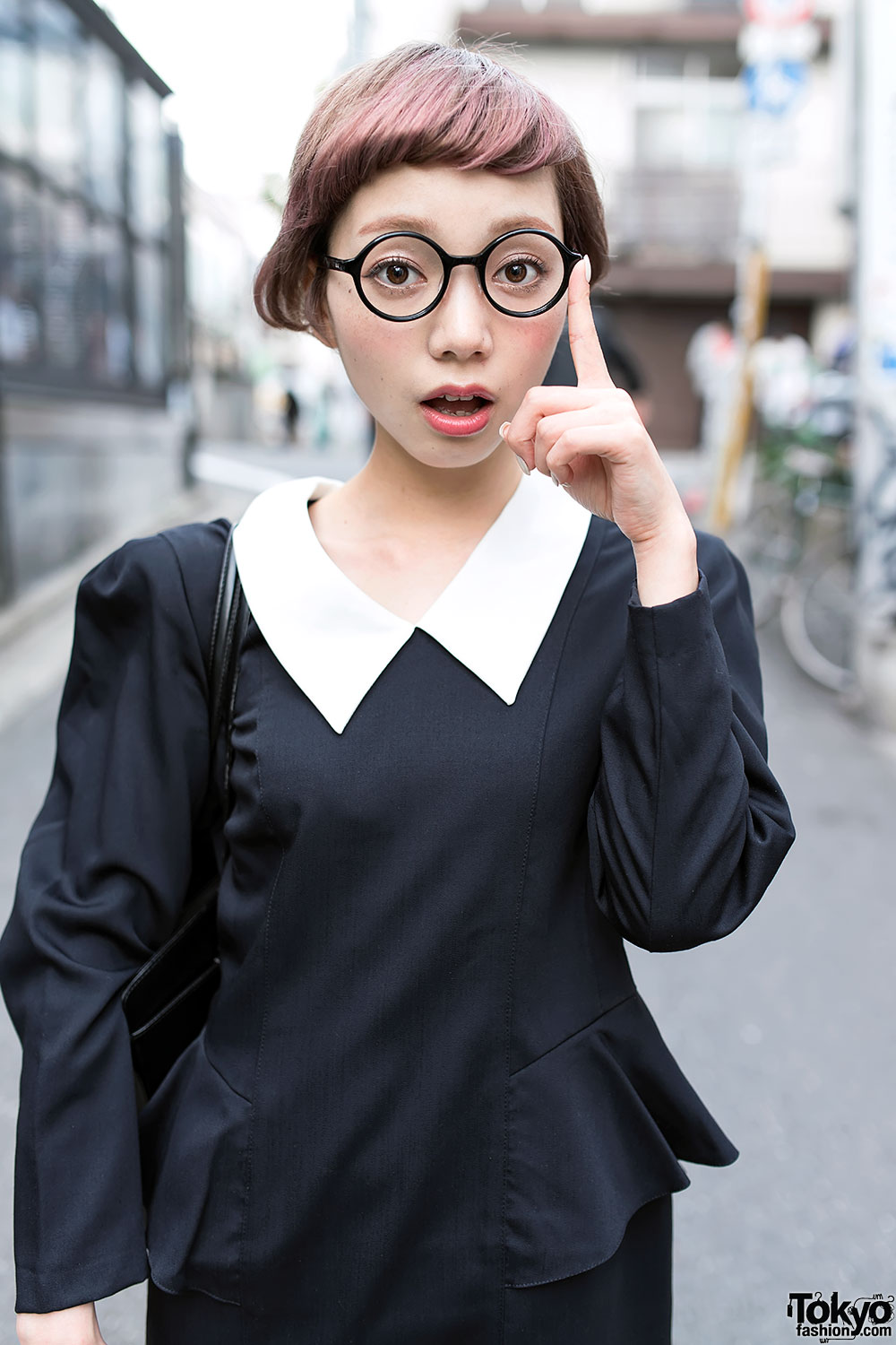cute short hairstyle, round glasses & peter pan collar dress in