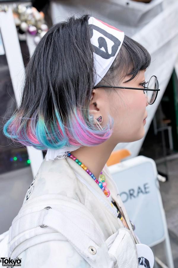 Colorful Hair & Japan Flag Headband