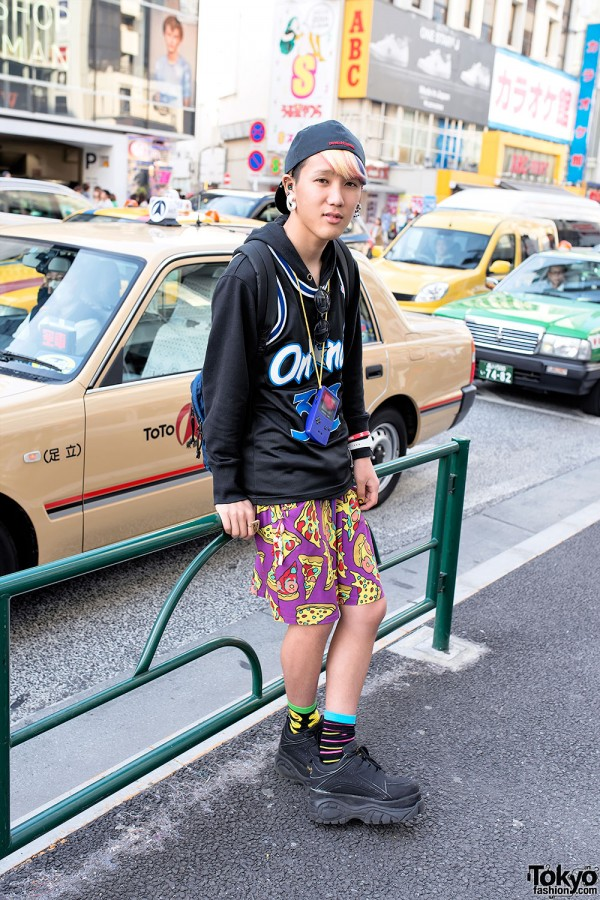 Galaxxxy Pizza Print Pants in Harajuku