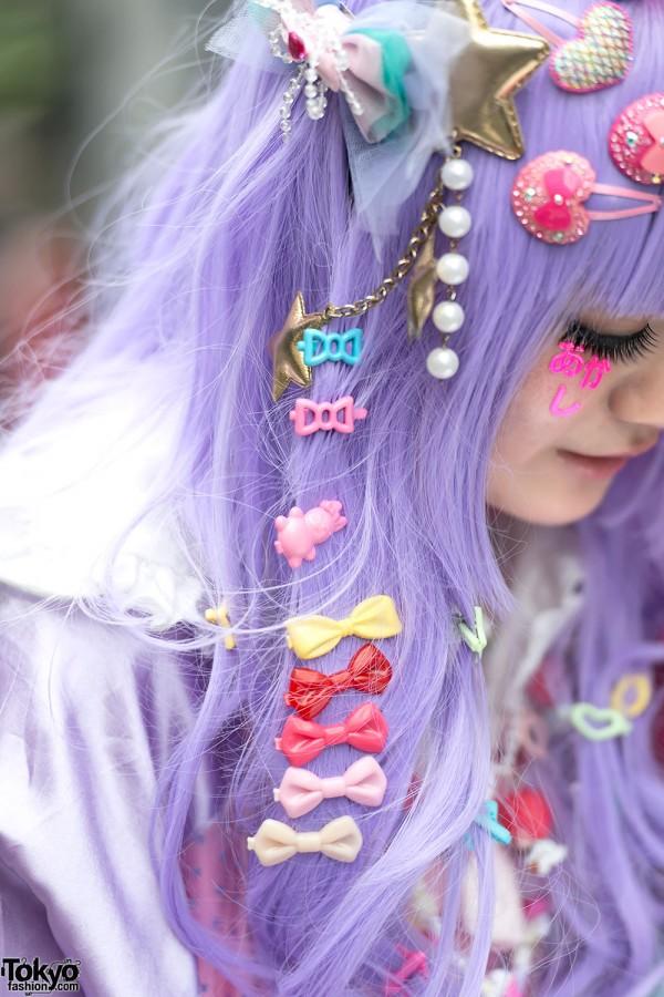 Colorful Bow Hair Clips & Purple Hair