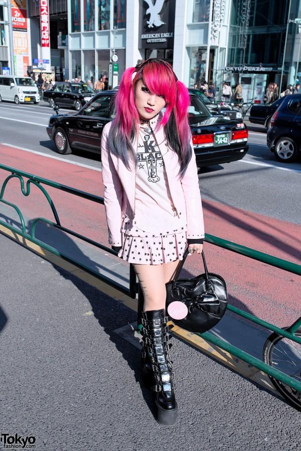 Moth in Lilac Guitarist in Harajuku w/ Demonia Boots, Dip Dye & Black Heart Bag