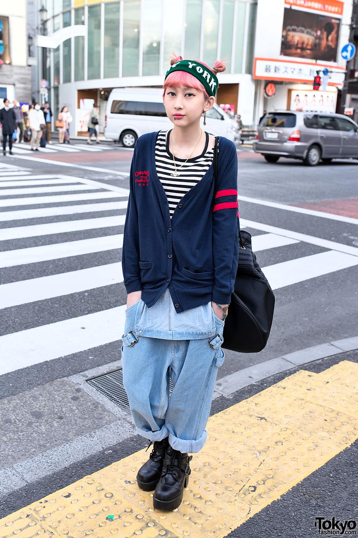 Denim Overalls & Cardigan in Harajuku