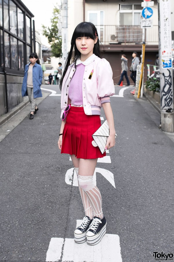 Pink Nadia Harajuku Jacket & Pleated Skirt