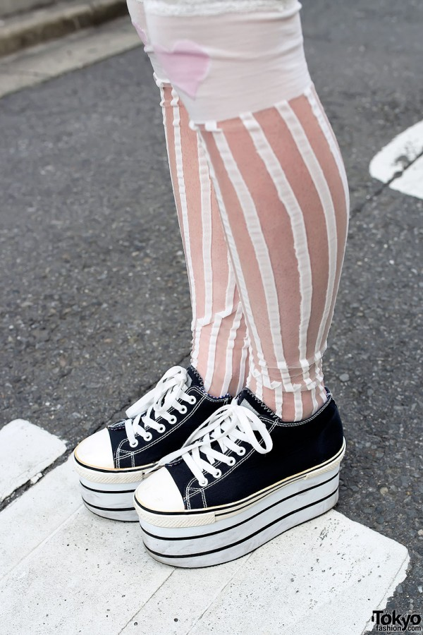 Striped Socks & Platform Sneakers