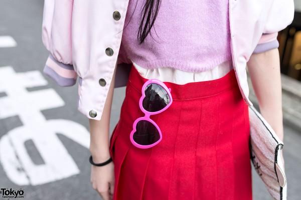 Heart Sunglasses & Pleated Skirt