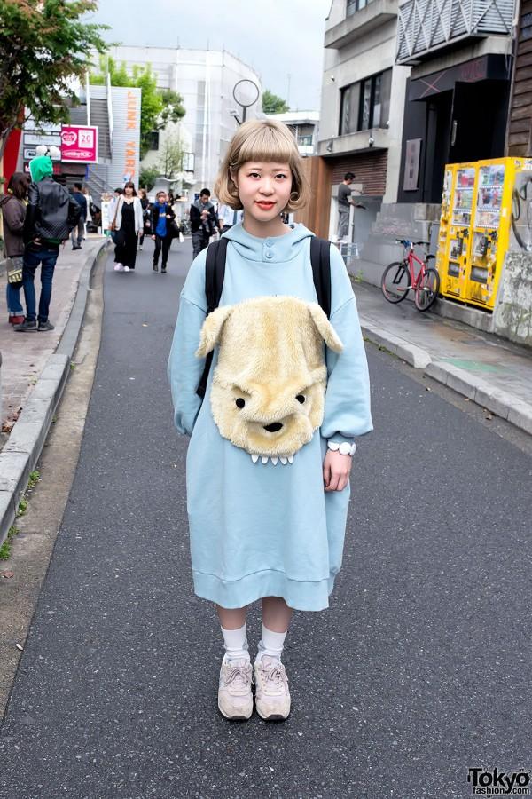 Ne-Net Oversized Bear Dress & New Balance in Harajuku