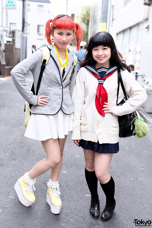 Orange Twin Tails Sailor Fuku Amp Lego Man Earrings In Harajuku