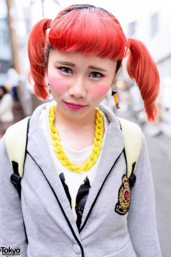 Orange Hair Twin Tails in Harajuku