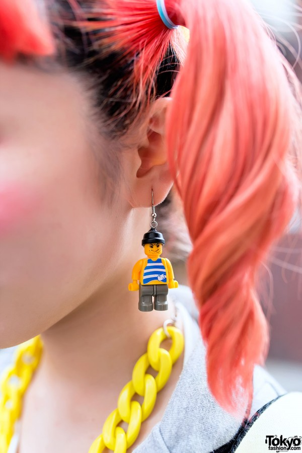 Orange Twin Tails Sailor Fuku Amp Lego Man Earrings In Harajuku