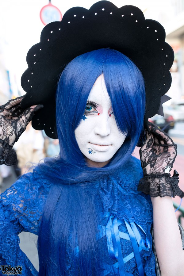 Blue Hair & Shironuri Makeup