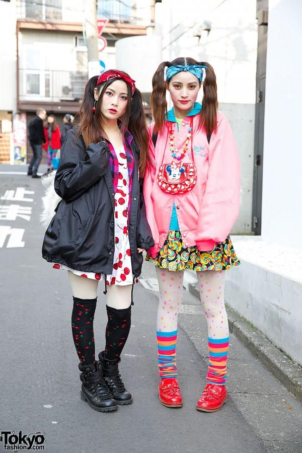 Harajuku Sisters w/ Twin Tails, Tiger Backpacks & Cherry Print