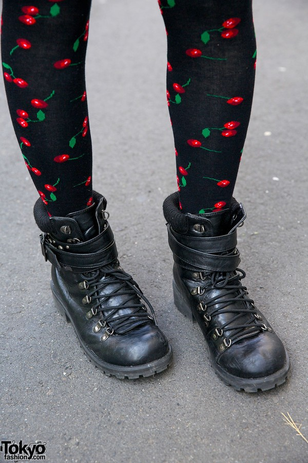 Avail Boots & Cherry Print Socks