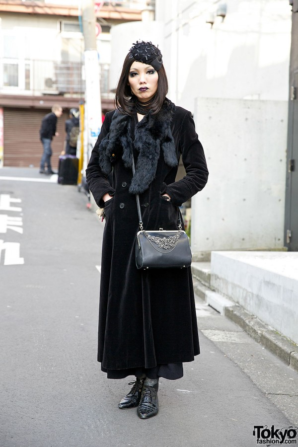 Vintage Velvet Coat w/ Abilletage & Alice Auaa & Jean Paul Gaultier in Harajuku