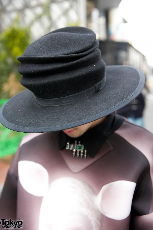 Black Crumpled Hat in Harajuku
