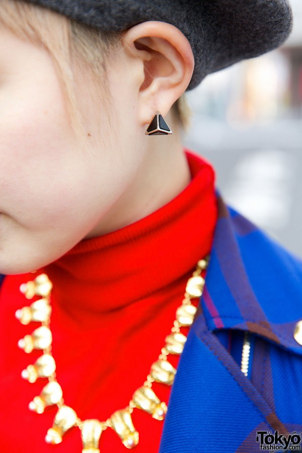 Pyramid Earrings & Golden Necklace