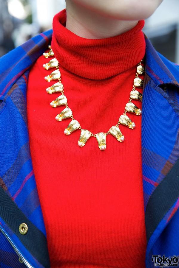 Golden Necklace Over Turtleneck