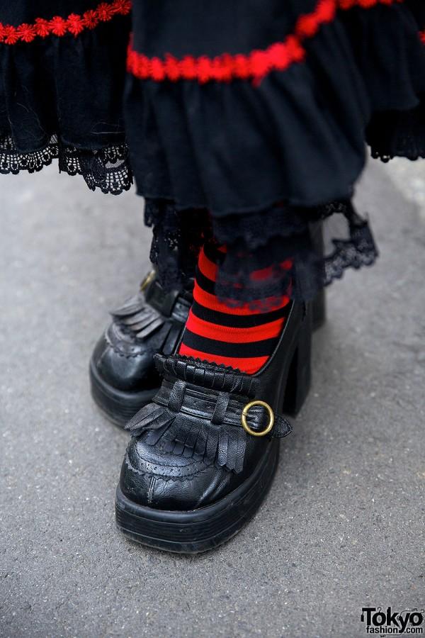 Heeled Loafers & Striped Socks