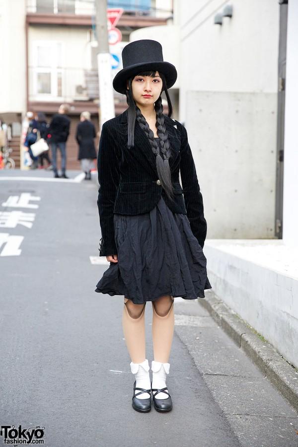 Ball Joint Doll Tights, Top Hat & Velvet Blazer in Harajuku