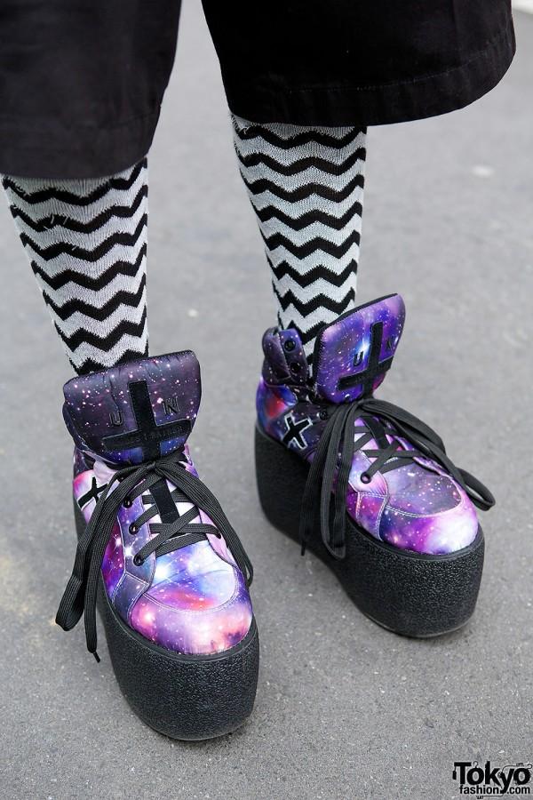 UNIF galaxy print platform sneakers