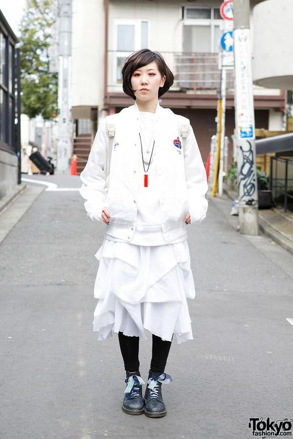 Bomber Jacket, Layered Skirt & Dr. Martens Boots in Harajuku