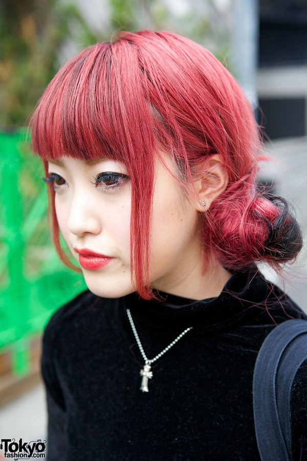 Red Twin Buns Hairstyle