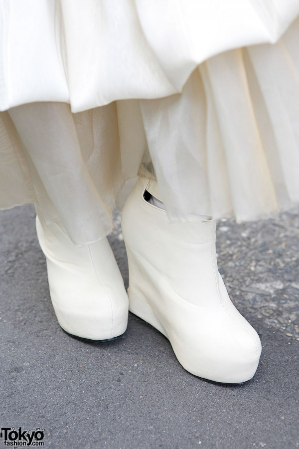 White Wedge Ankle Boots