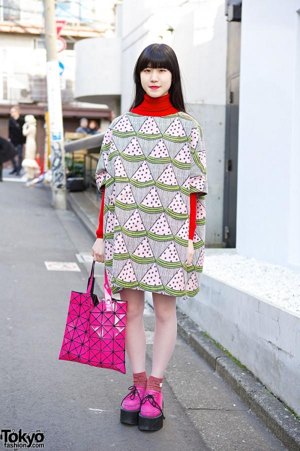 I am I Watermelon Dress & Issey Miyake Bao Bao Bag in Harajuku