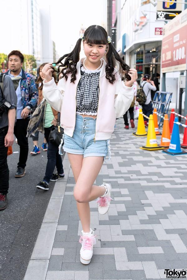 Twin Tails, Gingham Crop Top & Bon Bon Varsity Jacket in Harajuku