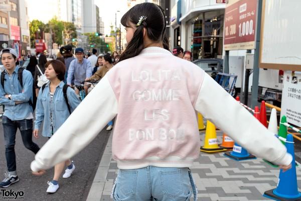 Kawaii Varsity Jacket in Harajuku