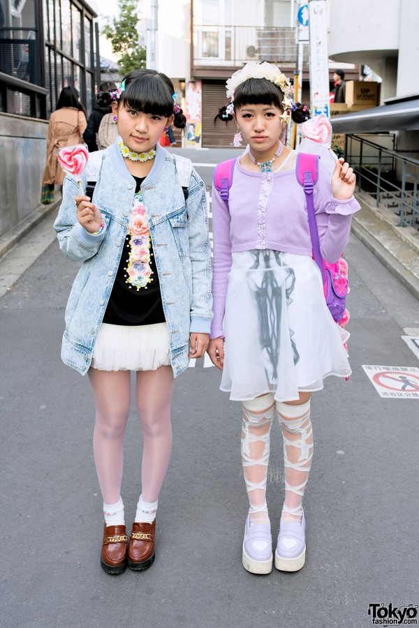 Harajuku Girls W Sheer Skirts Loafers Cute Accessories