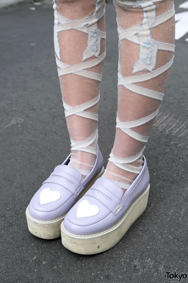 Harajuku Girls W Sheer Skirts Loafers Cute Accessories