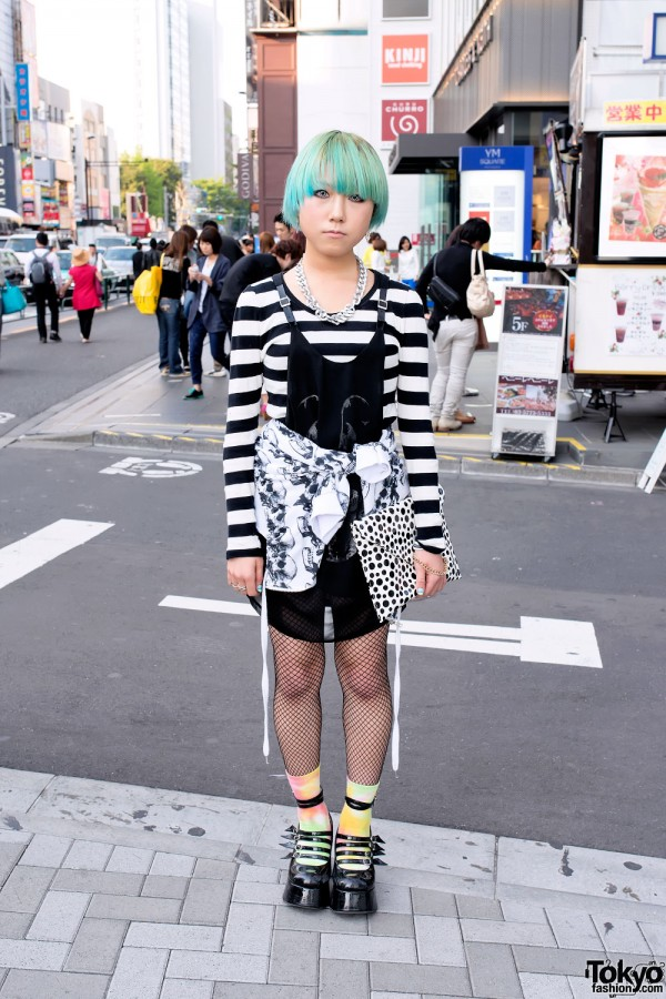 Green-Haired Harajuku Girl w/ Stripes, Polka Dots, Fishnets & Platforms