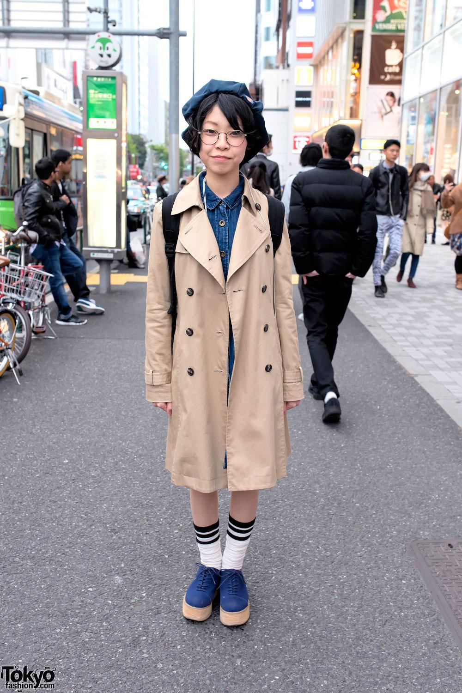 Overcoat & Denim Dress in Harajuku