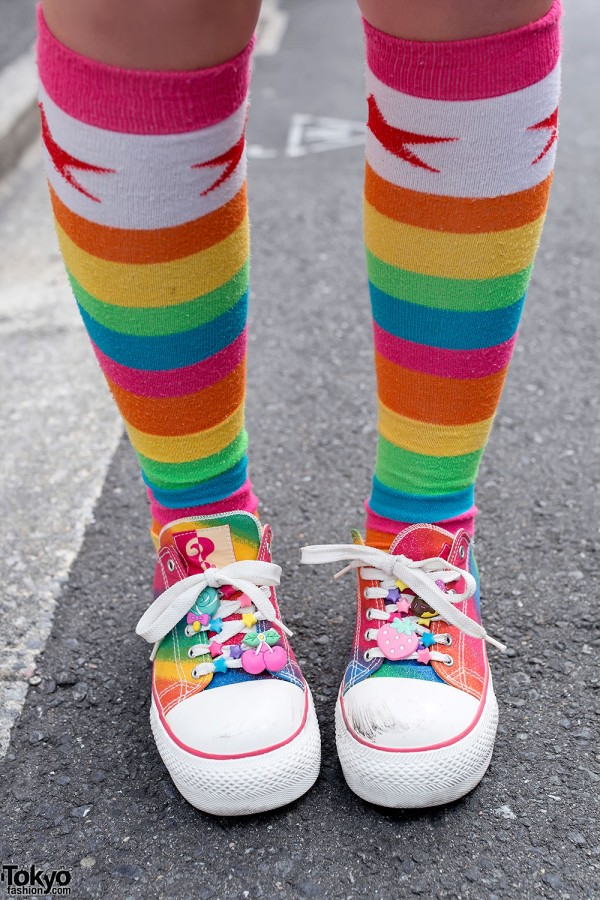 Rainbow Socks & Cute Decorated Sneakers