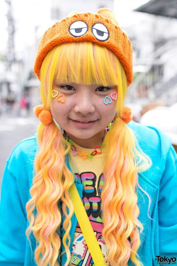 Orange Wig & Eyes Beanie