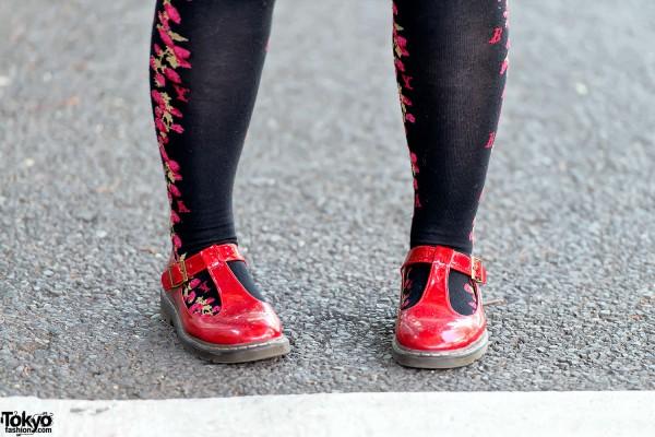 Strawberry Knee Socks & Red Flats