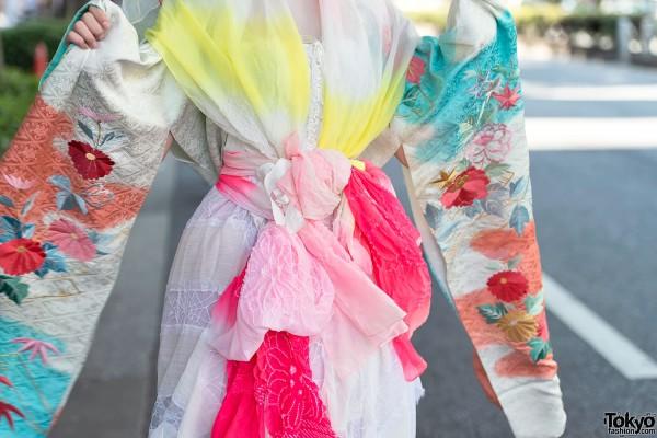 Colorful Kimono Sleeve Dress