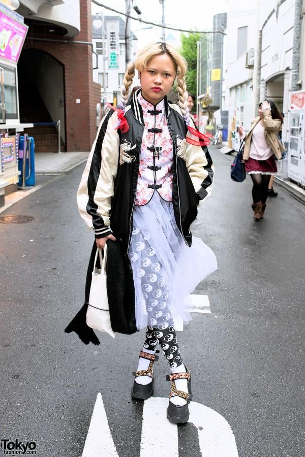 Sheer Skirt & Platform Sandals in Harajuku