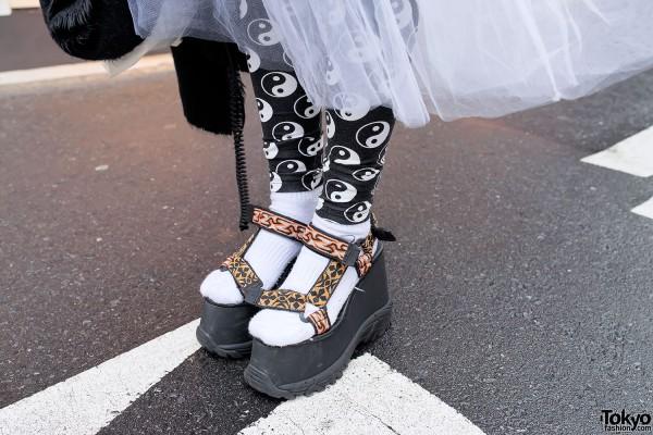 K3 Platform Sandals & Sheer Skirt